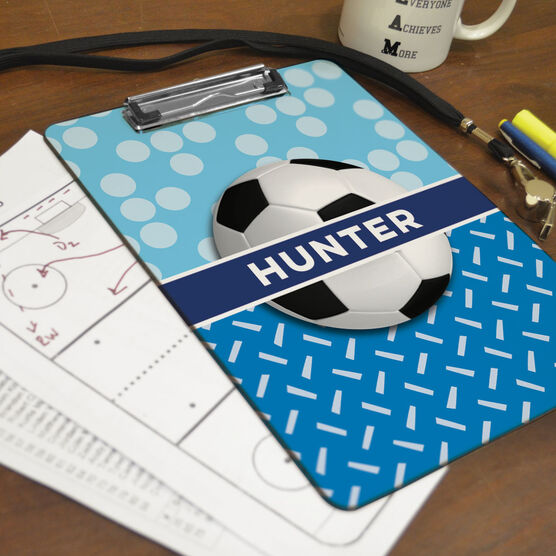 Soccer Custom Clipboard Personalized 2 Tier Patterns With Soccer Ball