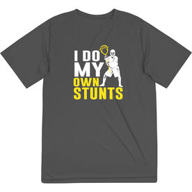 Guys Lacrosse Short Sleeve Performance Tee - I Do My Own Stunts with Neon Yellow