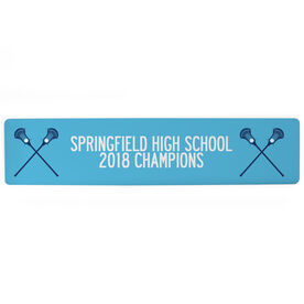 """Guys Lacrosse Aluminum Room Sign - Team Your Text With Crossed Sticks (4""""x18"""")"""