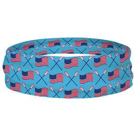 Guys Lacrosse Multifunctional Headwear - Crossed Sticks and USA flag Pattern RokBAND