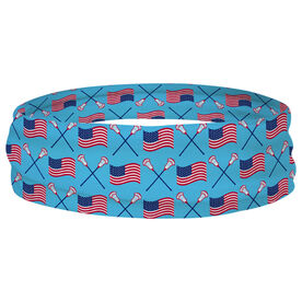 Guys Lacrosse Multifunctional Headwear - Crossed Sticks and USA flag Pattern RokBAND