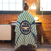 Girls Lacrosse Premium Blanket - Monogram with Crossed Sticks and Chevron
