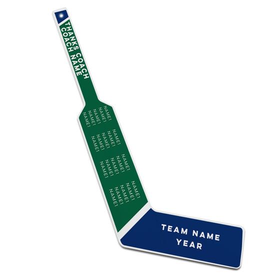 Personalized Knee Hockey Goalie Stick Thanks Coach with Team Name