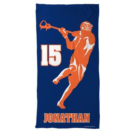 Lacrosse Beach Towel Personalized Jump Shot Silhouette