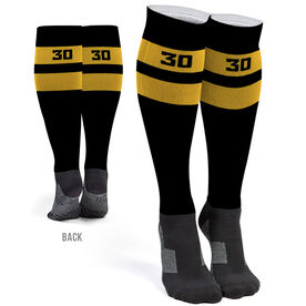 Hockey Printed Knee-High Socks - Hockey Team Number