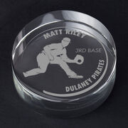 Baseball Personalized Engraved Crystal Gift - Customized Fielder