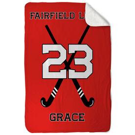 Field Hockey Sherpa Fleece Blanket - Personalized Field Hockey Team With Crossed Sticks