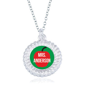 Personalized Braided Circle Necklace - A Teacher's Apple