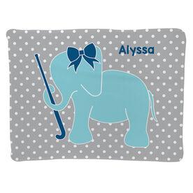 Field Hockey Baby Blanket - Field Hockey Elephant with Bow