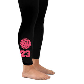 Volleyball Leggings Volleyball with Number