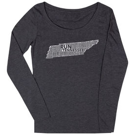 Women's Scoop Neck Long Sleeve Runners Tee Tennessee State Runner