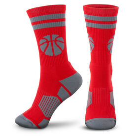 Basketball Woven Mid-Calf Socks - Ball (Red/Gray)