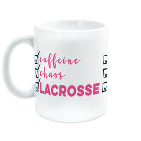 Girls Lacrosse Coffee Mug - Caffeine, Chaos and Lacrosse