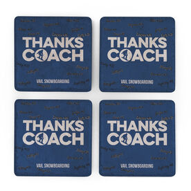 Snowboarding Stone Coasters Set of Four - Coach (Autograph)