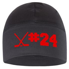 Beanie Performance Hat - Hockey Crossed Sticks Number