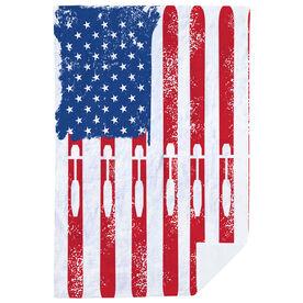 Skiing Premium Blanket - American Flag