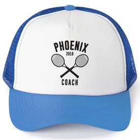 Tennis Trucker Hat - Team Name Coach With Curved Text