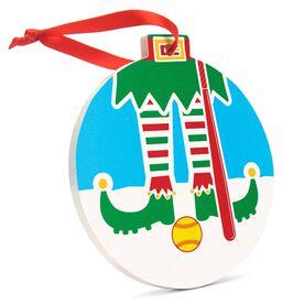 Softball Round Ceramic Ornament - Elf Graphic
