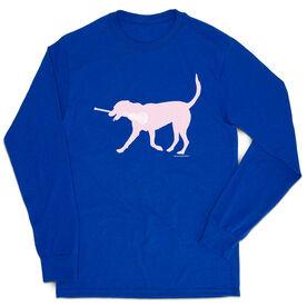Girls Lacrosse Tshirt Long Sleeve - Lula The Lax Dog (Pink)