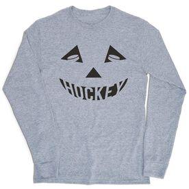 Hockey Tshirt Long Sleeve - Hockey Pumpkin Face