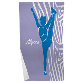 Cheer Beach Towel Girl with Zebra Stripes