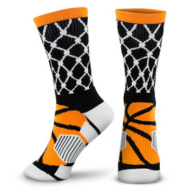 Basketball Woven Mid-Calf Socks - Hoop and Ball (Black/Orange)