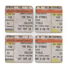 Personalized Stone Coasters Set of Four - Concert Tickets