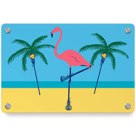 Girls Lacrosse Metal Wall Art Panel - Palm Tree And Flamingo
