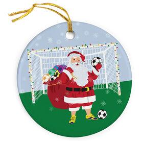 Soccer Porcelain Ornament Santa