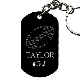 Engraved Personalized Football Dog Tag Keychain
