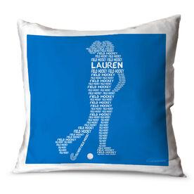 Field Hockey Throw Pillow Personalized Field Hockey Words