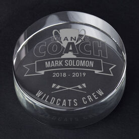 Crew Personalized Engraved Crystal Gift - Thanks Coach Banner
