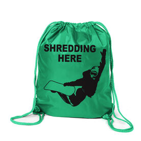 Snowboarding Sport Pack Cinch Sack - Shredding Here
