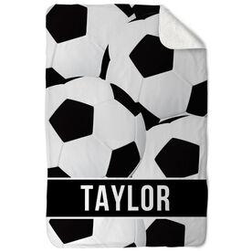 Soccer Sherpa Fleece Blanket - Personalized Ball Pattern