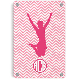 Cheerleading Metal Wall Art Panel - Chevron Monogram