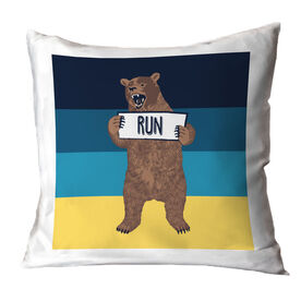 Running Throw Pillow - Trail Bear