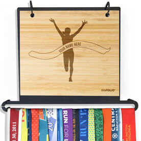 Engraved Bamboo BibFOLIO+™ Race Bib and Medal Display Pride Is Forever Female