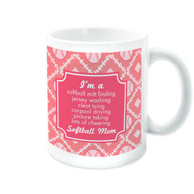 Softball Coffee Mug Mom Poem With Pattern