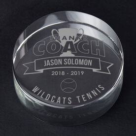 Tennis Personalized Engraved Crystal Gift - Thanks Coach Banner