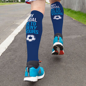 Soccer Printed Knee-High Socks - My Goal Is To Deny Yours Goalie