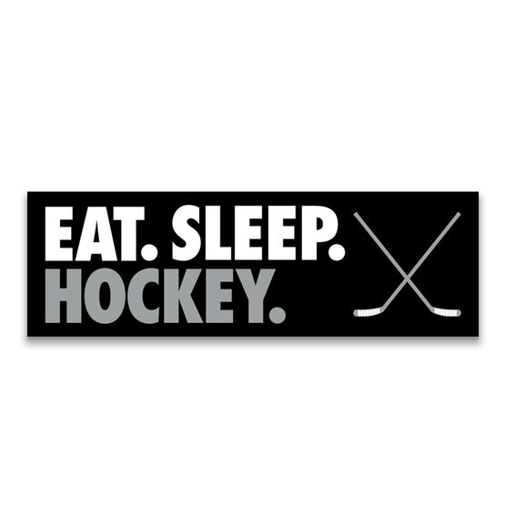 "Hockey 12.5"" X 4"" Removable Wall Tile - Eat Sleep Hockey"