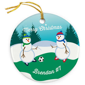 Soccer Porcelain Ornament Kickoff Snowman