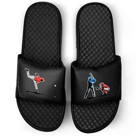 Baseball Black Slide Sandals - Go For the Home Run