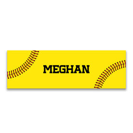 "Softball 12.5"" X 4"" Removable Wall Tile - Personalized Stitches"