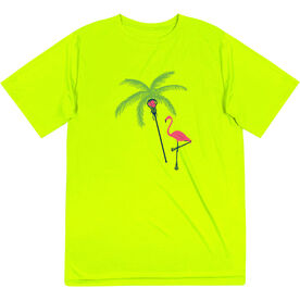 Girls Lacrosse Short Sleeve Performance Tee - Palm Tree and Flamingo
