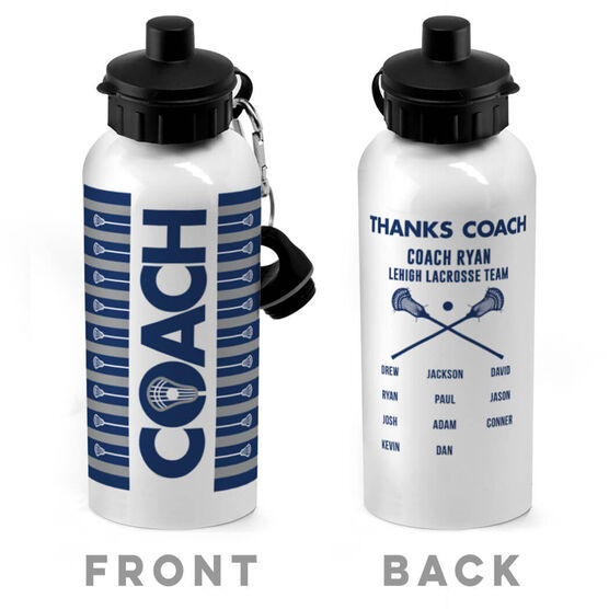 Guys Lacrosse 20 oz. Stainless Steel Water Bottle - Coach With Roster
