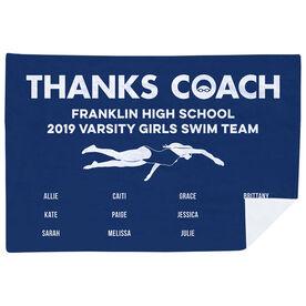 Swimming Premium Blanket - Thanks Coach Female (Horizontal)