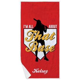 Softball Premium Beach Towel - I'm All About That Base