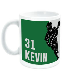 Guys Lacrosse Coffee Mug Personalized Guy Player Silhouette