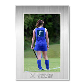 Engraved Field Hockey Frame Silver 4 x 6 with Field Hockey Icon